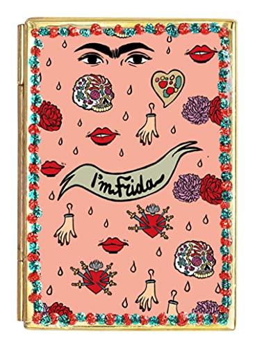 Art&design24 Miroir « I'm Frida », Miroir de Poche en Fer-Blanc à Motif Frida Kahlo, Petit Miroir 5,5 x 8 cm, Poids 55 g, Produit Fait Main par des Artisans mexicains