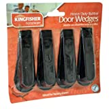 Kingfisher Rubber Door Stop Wedges, Black, Pack of 4