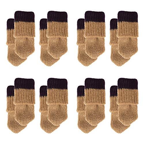 Mogokoyo 16 x Stuhlbeinsocke süß Möbel Socken Anti-Rutsch Wollsocken Hocker Tabellen Cotton Caps Fußboden Schutz Stuhl Bein Floor Protector (Streifen#1)