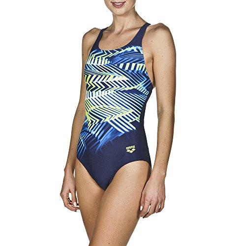 arena Damen Sport Badeanzug Spike (Schnelltrocknend, UV-Schutz UPF 50+, Chlorresistent, Ergonomisch), Navy-Leaf (703), 40