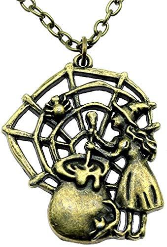 LKLFC Necklace Women Necklace Men Vintage Necklace 40X33Mm Antique Bronze Color Poisonous Spider Web Pendant Necklace Pendant Necklace Girls Boys Gift