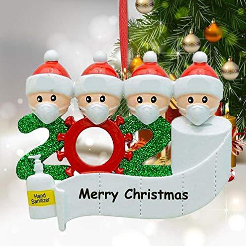 2020 Weihnachtsschmuck,DIY Personalisierte Überlebende Familie Von 2, 3, 4, 5,6,7 Weihnachten 2020 Christmas Ornament Segen Harz Schneemann Weihnachtsbaum Hängen Anhänger Für Weihnachtsbaum Deko