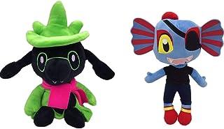 kelee Plush: 2pcs Undertale Plush Figure Toy Stuffed Toy Sans Papyrus Chara Frisk Flowey Temmie Asriel Toriel Lancer Ralsei Undyne Doll for Children(9.8''-14.1'') (G-Ralsei&Undyne)