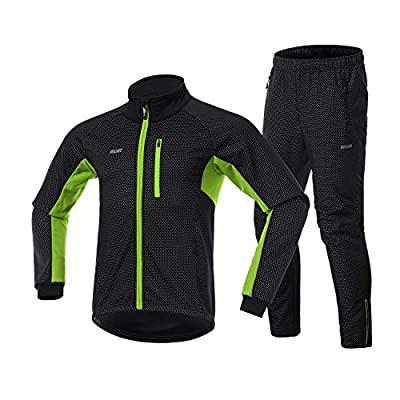 Lixada Men Cycling Clothing Set Winter Long Sleeve Windproof Bicycle Jersey with Pants Outdoor Cycling Running Sports Jacket Activewear
