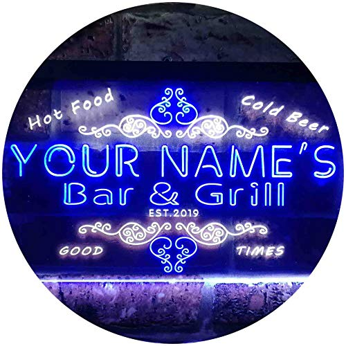 ADV PRO Personalized Your Name Est Year Theme Bar & Grill Beer Wine Club Dual Color LED Barlicht Neonlicht Lichtwerbung Neon Sign Weiß & Blau 600 x 400mm st6s64-u2-tm-wb
