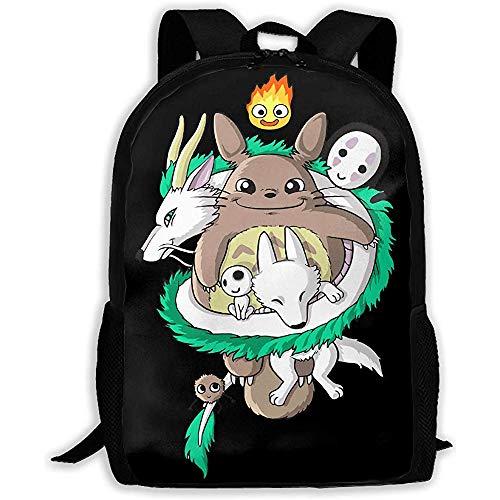 Kimi-Shop Unisex Adult Rucksack Studio Ghibli Bookbag Reisetasche Schultaschen Laptoptasche für Männer und Frauen