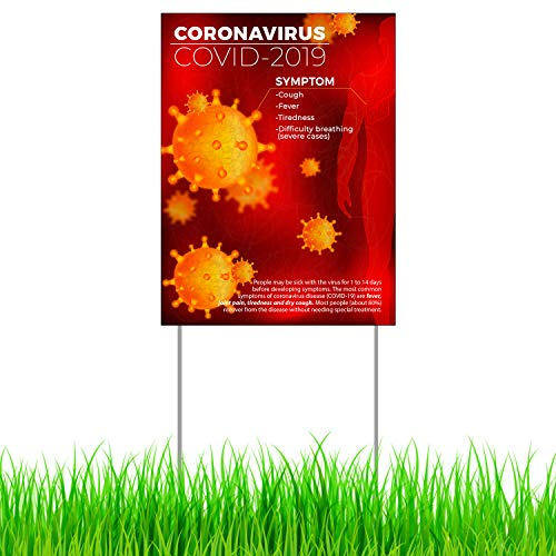 "BANNER BUZZ MAKE IT VISIBLE Coronavirus COVID-19 Safety Prevention Yard Sign with Metal Stakes Single Side Print 18"" x 24"" Quarantine Sign for Home, Office, School, Hospitals (Theme 4)"