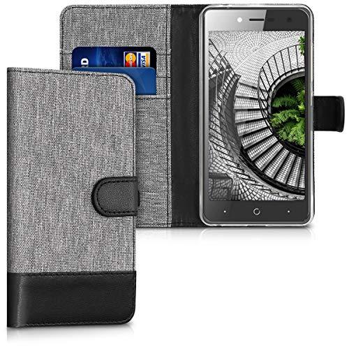 kwmobile Wallet Hülle kompatibel mit ZTE Blade L7 - Hülle Kunstleder mit Kartenfächern Stand in Grau Schwarz
