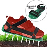 LEDTEEM Lawn Aerator Shoes with Hook & Loop Straps for Effectively Aerating Lawn Soil, One Size Fits All Free-Installation Heavy Duty Spiked Sandals Shoes for Easy Use for Yard Patio Garden
