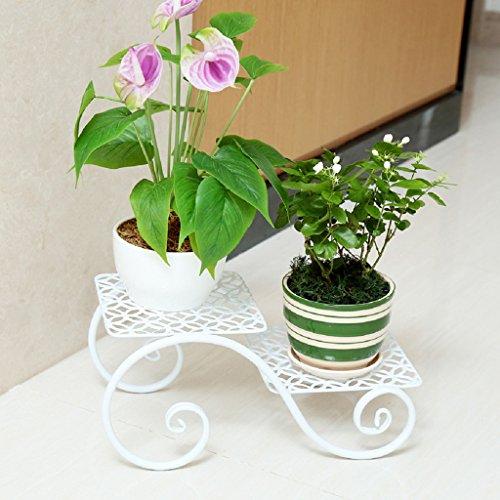 KK- Ensemble de Fleurs en Fer Multicouches, Balcon créatif, étagère à Fleurs, Salon, Pots de Fleurs, Bureau de Plancher à l'intérieur et à l'extérieur des Petites étagères de Fleurs (Couleur: Blanc)