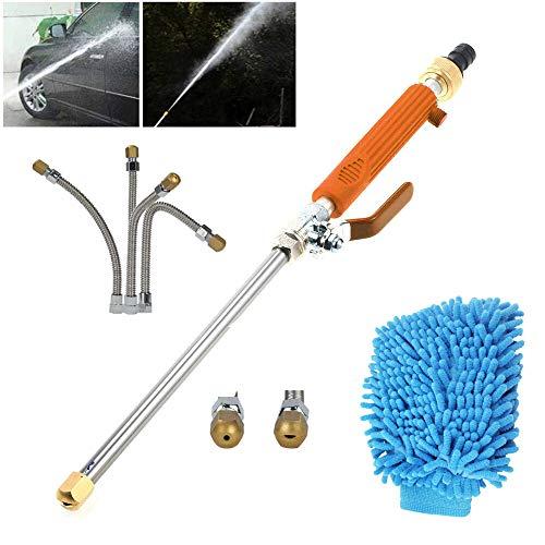 Nozzle Waterslangstangbevestiging, hogedrukreiniger met 2 mondstukken voor terraspad en garage,Orange