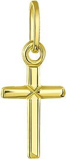 14K Yellow Gold Simple Small Cross Charm Pendant