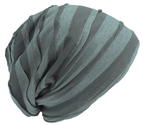 Cool4 Vintage 2 kleuren Beanie Stripes Olive donkergroen Slouch Retro stijlvolle muts Cap Hut VSB24