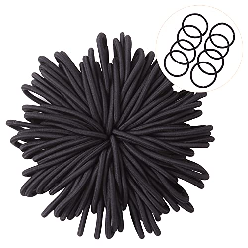 JOHN PHIL 100pcs Hair Ties for Women/Men,Black Elastic Hair Ties No Metal Hair Bands Ponytail Holders Hair Accessories Rubber Bands for Thick Heavy and Curly Hair