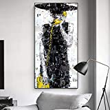 YuanMinglu Abstraktes Porträt ohne Mode Mädchen Bild in Kunst Wohnzimmer Dekoration Rahmenlos 30x60cm