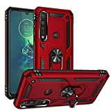 Dedux Hülle für Motorola Moto G8 Plus [Tough Armour Series] Rugged Anti-Scratch PC Rückwand Schale + Shockproof TPU + Faltbarer Halterungen.rot