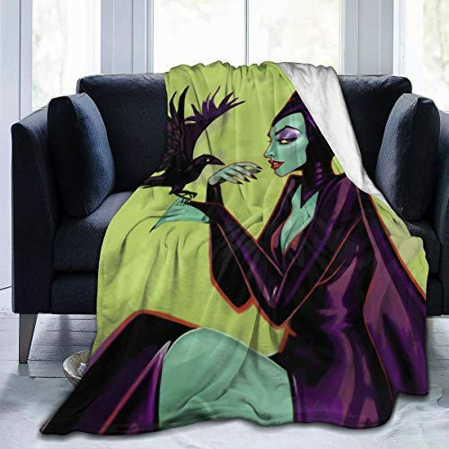 Best Fleece Bed Blankets, Witch Queen Mal Mistress of Evil Green Drawing Fanart Christmas Throw Blankets, Hypoallergenic Ultra Soft Travel Blanket for Toddler Outdoor Airplane