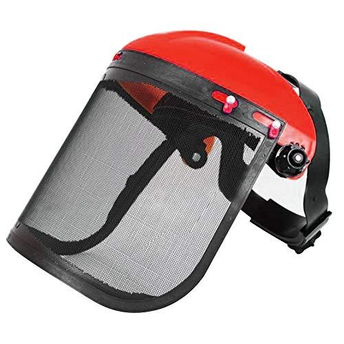 Lindaeshop Elektrische Kettensäge Schutzhelm Rasenmäher Trimmer Schutzmaske (rot)