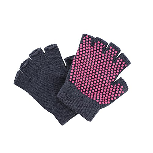 Meanhoo Yoga Gloves- Non Slip- 1 Pair Pilates Workout Glove Dry Grip Fingerless Exercise Hand Grips for Women