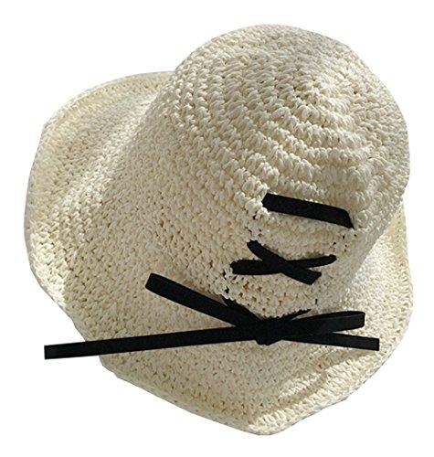 zhixing Sonnen- und UV-Schutz Sonnenhut Hohler und atmungsaktiver Strandhut für den Urlaub im Urlaub Faltbarer Strohhut mit breiter Krempe