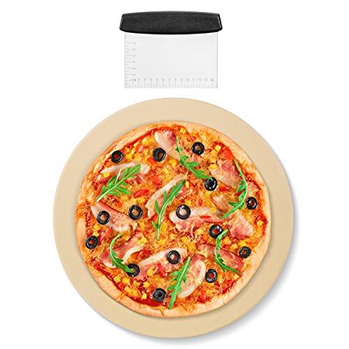 Arcedo Round Pizza Stone 16 Inch, Heavy Duty Ceramic Baking Stone for Oven and Grill, Durable BBQ Pizza Grilling Stone, Perfect Baking Accessories for Pizza, Bread, Pie, Includes Durable Metal Scraper