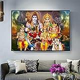 RTCKF Shiva Parvati Ganesha Arte hindú Dios hindú Figura Lienzo Pintura Religiosa Cartel impresión Imagen de la Pared para Sala de Estar Cuadros 60x90 cm (sin Marco)