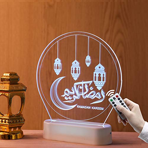 Ramadan Light, 3D Holográfica Media Luna Estilo Vintage Acrílico Islámico Decoración del Hogar Interior Luz De Fiesta, 6 Colores para Centros De Mesa O Decoraciones De Bodas,Oil Lamp