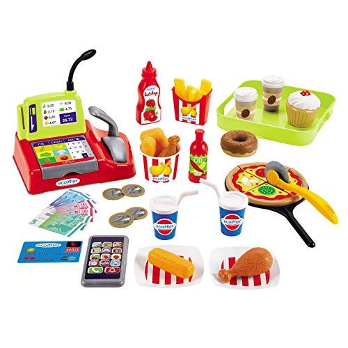 Kreatives Spielset Kasse mit Imbisszubehör Spielkasse Kinderkasse viel Zubehör Rollenspiel Kinder Spielzeug 44 Teile Spielzeug Set ab 18 Monaten Kreativspielzeug Spiellebensmittel Spielgeld Kaufladen
