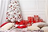 Accesorios de Fondo de fotografía de Navidad de Vinilo, Accesorios de Fondo de Estudio fotográfico con temática de tablones de Madera y Flores A15 10x7ft / 3x2.2m