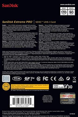 SanDisk Extreme Pro SDXC UHS-I Speicherkarte 128GB (V30, Übertragungsgeschwindigkeit 170 MB/s, U3, 4K-UHD-Videos, temperaturbeständig)