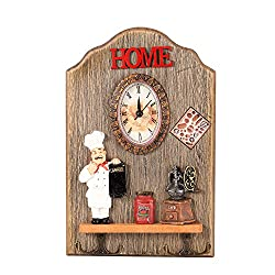 Decorative Wall Mounted Clock with Key Holder, YINASI Shabby Chic Rustic Wood Clock for Living Room, Entryway, Door, Office,Restaurant, Bar, Coffee Shop (Chef Oval Clock)
