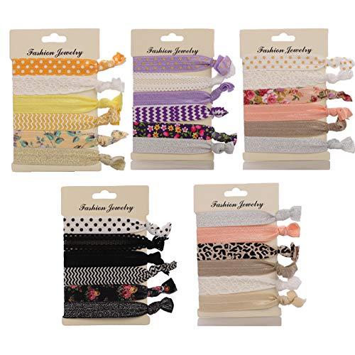 30 Pezzi Cravatta Elastica per Capelli, Fascette per Capelli in Morbida Seta Senza Piega, Accessori per Lo Styling Supporto per Coda di Cavallo per Donne, Ragazze e Bambini (Miscelazione dei Colori)