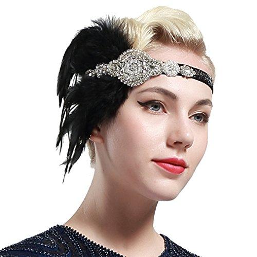 BABEYOND Años 20 Flapper Diadema de Plumas Negras Diadema Gatsby Vintage Cinta para el Pelo con Cuentas de Cristal...