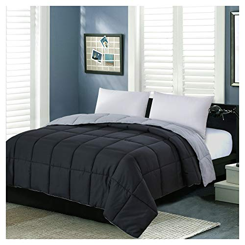 Homelike Moment Reversible Lightweight Comforter Queen Black All Season Down Alternative Bed Comforter Summer Duvet Insert Quilted Comforters Full / Queen Size Black / Light Grey
