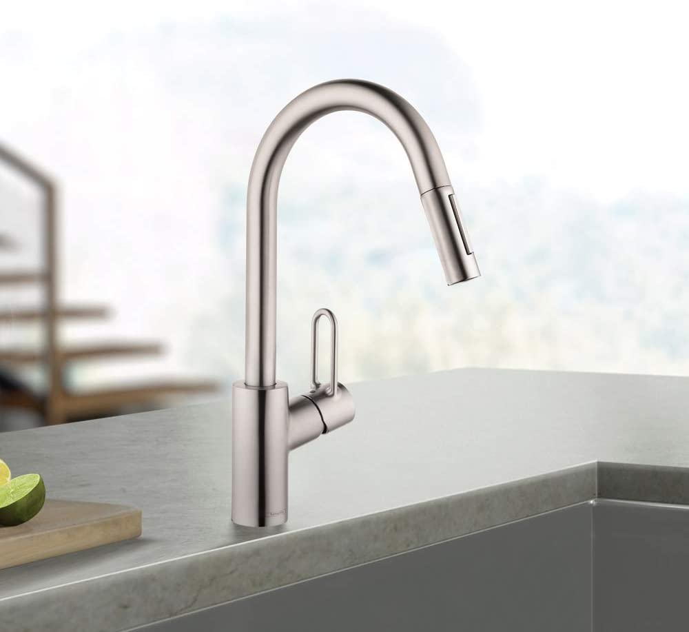 Buy Hansgrohe Talis Loop Kitchen Faucet 1 Handle Tall In Stainless Steel Optic 04701805 Online In Vietnam B077jhfm37