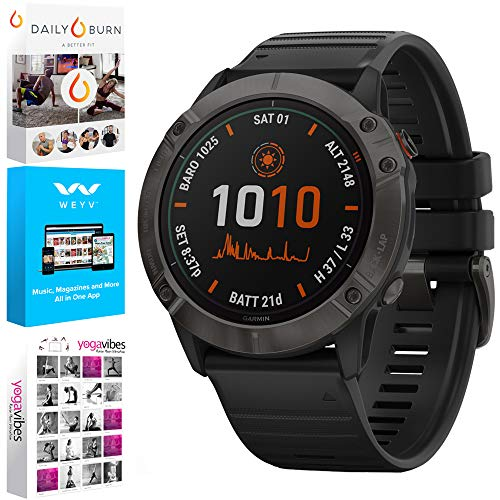 Garmin 010-02157-00 Fenix 6X Pro Multisport GPS Smartwatch, Black with Black Band Bundle with Tech Smart USA Fitness and Wellness Suite Includes Altair Weyv, Yoga Vibes and Daily Burn