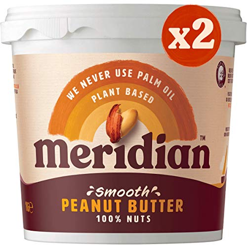 Meridian Smooth Peanut Butter 1kg Twin Pack (2 x 1kg Tubs) - Vegan, Free From Palm Oil, Made With 100% Nuts
