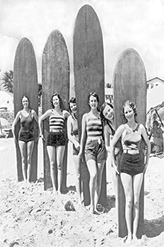MGSHN Surfing Surf Womans Playa Tablas Imagen Foto Lienzo Pintura Arte Obra de Arte única 60x80cm sin Marco