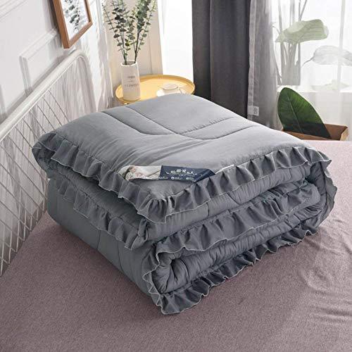 PENVEAT Sommer Quilt Decke für Kinder Erwachsene Rüschen Bettdecke Tagesdecke für Queen King Doppelbett Quilten Heimtextilien colcha, grau, 150x200cm