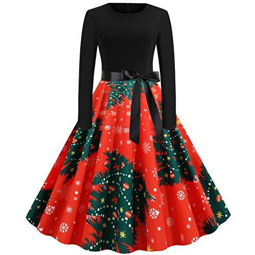 YBWZH 2019 Kleider Damen Weihnachtskleider Bustier Weihnachten Kleid Reißverschluss Partykleid Weihnachtsbaum Elegant Abendkleider A-Linie Vintage Cocktailkleider für Weihnachtsfeier