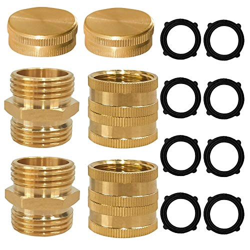 Xiny Tool Garden Hose Adapter, 3/4' Solid Brass Hose Connectors and Hose Ends, Male to Male, Female to Female, 3/4 Inch Brass Connector, 6-Pack with Extra 4 Washers