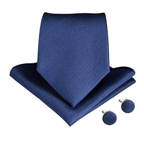 GPZFLGYN Corbata para hombre Corbata de boda sólida azul para hombres Conjunto de anillo de corbata Corbata de seda Pañuelo Gemelos Negocios JZ-03-7140