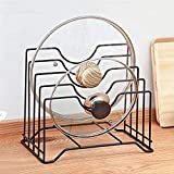 Pot Lid Holder, Lid Organizer,Chopping Board Rack, Lid Rack,Kitchen Counter and Cabinet Organizer with 4 Sections,Multifunctional Kitchen Cookware Chopping Board Organizer Storage Rack(Black)