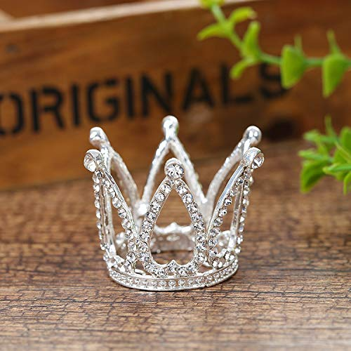 Mini Infant Crown Baby Princess Tiara Cake Topper Crystal Rhinestone Small Silver Cupcake Crown for Newborn Photo Prop Royal Prince Themed Birthday Wedding Christmas Party Decorations