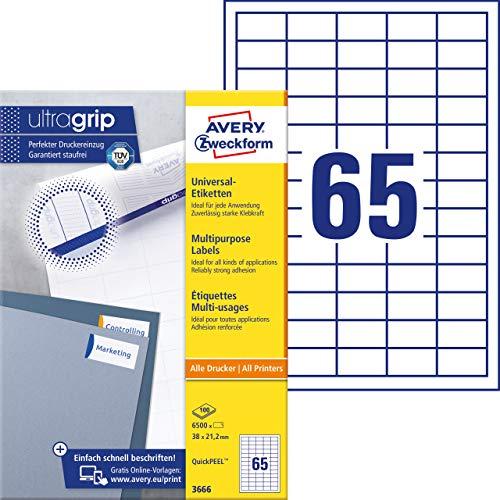 Avery Zweckform 3666 Universal Etiketten A4 (mit ultragrip, 38x21,2 mm, 100 Blatt, Papier matt, bedruckbar, selbstklebend, 6.500 Klebeetiketten) weiß
