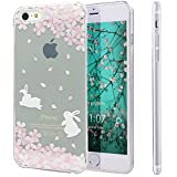 iPhone SE Case,iPhone 5S Case,NSSTAR [Perfect Fit] Soft TPU Crystal Clear [Scratch Resistant] Pink Flower Floral Cherry Blossom Running Rabbit Back Case Cover for Apple iPhone SE 2016 & iPhone 5S 5