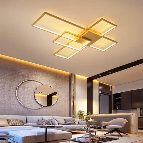 WHL Lámpara de Techo LED Regulable Rectangular Moderna lámpara de Techo de Silicona Pantalla Marco de Aluminio Adecuado para Sala de Estar Comedor Dormitorio lámpara de Techo,Oro,110 * 90cm