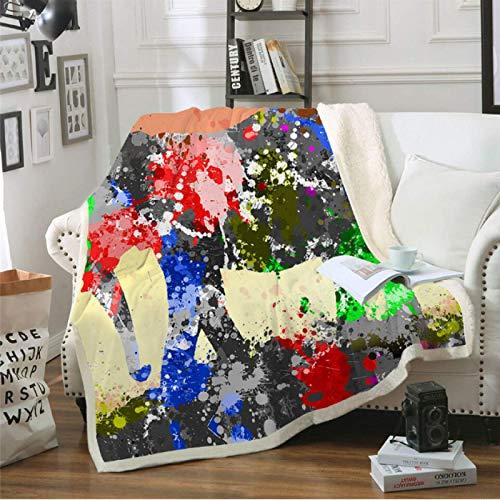 DJSK Acuarela Elefante Sherpa Manta cálida y acogedora Manta para Cama sofá sofá Viaje decoración del hogar Manta Suave 150 * 200 cm