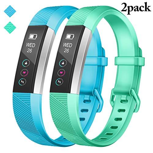 JOMOQ kompatibles Armband für Fitbit Alta und Alta HR, Silikon-Sportarmband für Fitbit Alta und Alta HR, Damen und Herren, Sport-Armband – 2 Stück, Wasserente + Himmelblau, Small: 5.5 - 6.7 inch