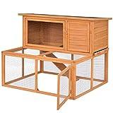 Tangkula 44' Chicken Coop Wooden 2 Doors Rabbit Hutch Hen Small Animal House with Outdoor Run